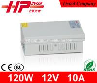 Rainproof ac dc 120W 12V 10A power supply for cctv camera