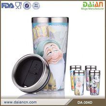 16oz double wall decorated photo plastic travel coffee mug