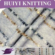 China 2014 new fashion sample,100%poly knitting coarse needle fabric in yarn dye,Knitted hacci stripe fabric