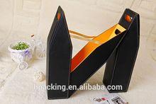 Luxury Folding PU Leather Bottle Wine Bag Carrier Box Holder
