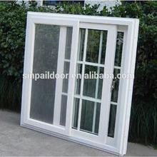 Double pane sliding glass upvc sliding window with mosquito net
