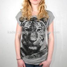 2014 fashion grey wholesale cheap t shirts with tiger pattern