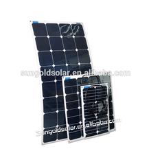 Boat Solar Panel Kit Sunpower Solar Cell Semi-flexible Mono 100W Lightweight