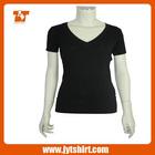 2014 High quality v-neck plain t-shirts for women