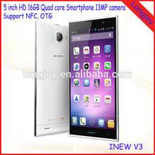 "Original Inew V3 MTK6582 Quad Core Smartphone 5.0"" HD Screen 1G RAM 16G ROM Android 4.2 GPS NFC OTG 13MP Camera 6.5mm Thin Phone"