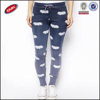 fashion design skinny all over bat print girls tight sport pants