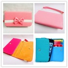 Bowknot Cute lovely Leather Wallet Purse Flip Smart-Phone Wristlet Clutch Leather Wallet Case Cover for Galaxy Note 2 N7100