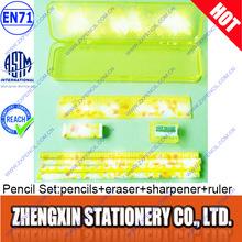 School pencil set include pencil eraser sharpener ruler in plastic case