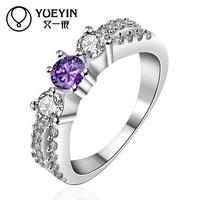 Popular Light Purple 100pieces MOQ Women's Silver Lucky Stone Finger Ring