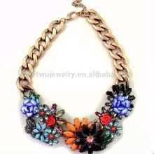 Brass plating zinc alloy summer exaggerate rhinestone jewelry in shourouk necklace