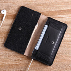 Vegetable tanned leather case for iphone5 Black leather and felt phone button case for iphone
