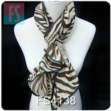 Exotic zebra velvet chiffon hand rolled hem scarves