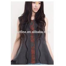 2014 vendita calda estate di cotone casual breve donne in alto camicetta con ricamo appliqued