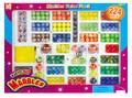 Mármoles de juguete, mármoles de color, canicas de vidrio en la caja de papel