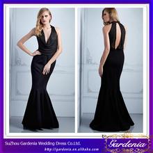 Sexy Black Halter Evening Dresses Floor Length Mermaid Off the Shoulder Keyhole Back Evening Dress DR1801