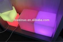 led light cube chair WN-JS02 plastic furniture plastic cube pool light