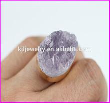 KJL-BD5083 HOT style !!! Natural Amethyst ring nature Druzy stone adjustable ring
