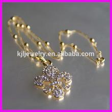KJL-A038 wholesale crystal fleur de lis charm pendant,gold color women's necklace