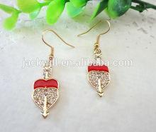 Gold /Rhodium Plated Crystal Heart And Cupid's Arrow Earrings,Crystal Heart Drop Earring ,Heart And Arrow Drop Earring
