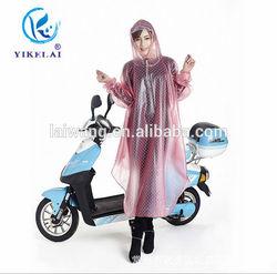 Outdoor Fashion Woman Rain Jacket,Pink Blue Long Bicycle Rain Poncho