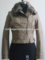 fur collar women leather Jackets
