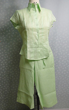 Ladies Simple Design Lady Linen Blouses And Capri Suit