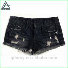 Girl fashion black wrinkled ruffle torn metal skull design stud skinny denim shorts jean pants