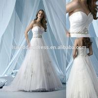 WD1834 2014 latest design crystals beaded belt USA net sheer fabric overlay light skirt in dubai simple elegant wedding dresses
