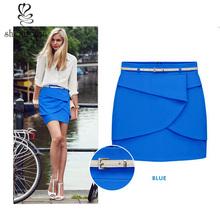 New in 2014 spring summer women short skirts fashion chiffon pleated skirts female with belt women dress OEM supplier