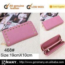 genuine leather rivet women/ladies/girls'/female saffiano cow-hide zipper purse/wallet/top quality high-end bag