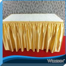 yellow satin ruffled table skirt