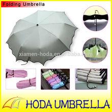 Beautiful ice cream three folding umbrella UV protection with unique elegant strip and maple edge