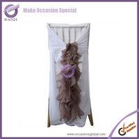 2014 hot sale elegant china wholesale chiffon ruffled wedding chair covers and sashes china manufacture