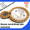 Motorcycle parts 420 428 428H 428HV 520 525 530 best price cheap chain and sprocket kits