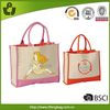 Shopping bag new products 2014 canvas tote bag leather handle