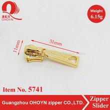 Fashion elegant bag accessories light gold zipper slider
