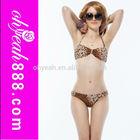 Sexy Women Girl Lady Leopard Swimsuit Swimwear Padded Bikini Top Bottom Push Up