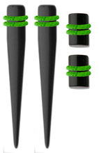 Ear Taper Gauges Kit Black Acrylic Tapers and Plugs with Green O Ring
