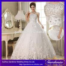 2014 New Design Luxury Rhinestone Princess Backless SleevelessThree-dimensional Cut Court Train Lace wedding dress