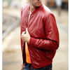 Newest Designer Slim Fit Stand Collar Embroidered Mens Leather Jacket Turkey