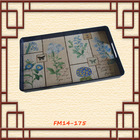 Flower serving tray rectangular plastic serving tray with handles PP tray