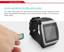 2014 new touch screen/ micro sim card smart hand watch phone (pedometer, anti-lost. stop watch , alarm, FM radio)