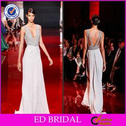 EDE189 China Supplier Sheath Cap Sleeve Crystal Beaded Chiffon Elie Saab Evening Dress