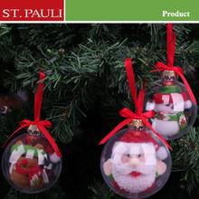 3.5 inch diameter novelty christmas openable transparent plastic balls