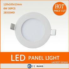 Hot design ultra thin 6w round led panel light