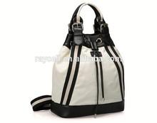 trendy functional dual use canvas drawstring backpack /fashion lady handbag/ woman tote bag
