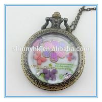 2014 Fashion Roman numeral cased quartz movement antique pocket watch