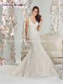 Sparkle v- pescoço applique branco marfim um- linha de varredura celtic vestidos de noiva
