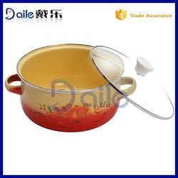 7pcs glass lid enamel cookware set/Porcelain enamel cookware set/enamel coated cookware