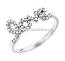 Stock love symbol ring 925 sterling silver rhodium plating zircon best love wedding engagement ring